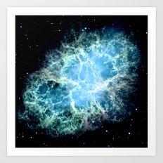 Crab Nebula Aqua Teal Blue Art Print
