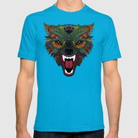 wolf fight flight ecru Mens Fitted Tee Teal SMALL