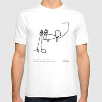 [two Cats, One Is Sad Be… Mens Fitted Tee White SMALL