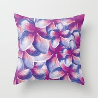 Purple Plumeria Floral Watercolor Throw Pillow