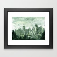Seattle Skyline Watercolor Space Needle Green Painting  Framed Art Print