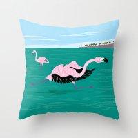 Go Flamingo Go Throw Pillow