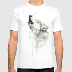 Wolf Howling Watercolor Wildlife Painting Mens Fitted Tee SMALL White