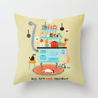 let´s cook together Throw Pillow