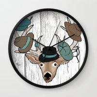 Deer Hat Rack Wall Clock