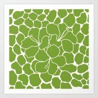 Hibiscus Animal Green Art Print