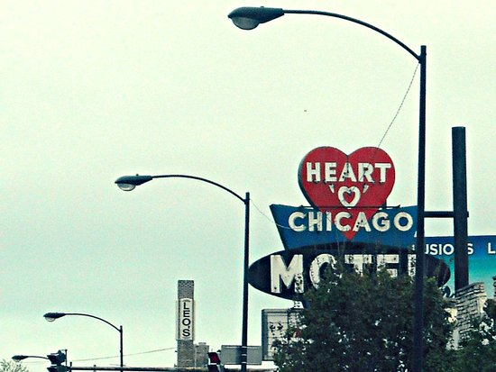 Heart 'O' Chicago Motel (Day) ~ vintage neon sign Art Print