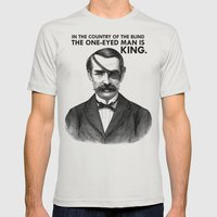 ONE-EYED KING  Mens Fitted Tee Silver SMALL
