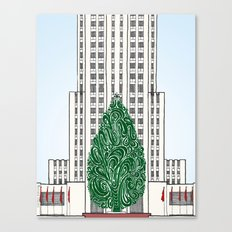 Special Edition Holiday Print: Rockefeller Center by the Downtown Doodler Canvas Print