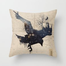 Space Raven Throw Pillow