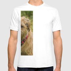 Border Terrier Dog White Mens Fitted Tee SMALL