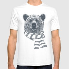 Winter Bear Drawing SMALL Mens Fitted Tee White