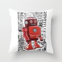 Robot Flux Throw Pillow
