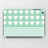 Heart Stripes Mint iPad Case