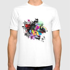 Retro SMALL Mens Fitted Tee White