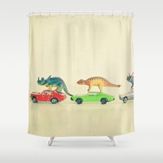 Dinosaurs Ride Cars Shower Curtain