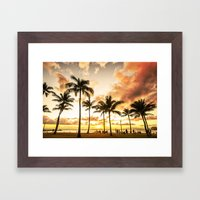 Typical Picturesque Waikiki Beach Sunset Framed Art Print