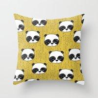Happy Panda - by Andrea Lauren Throw Pillow