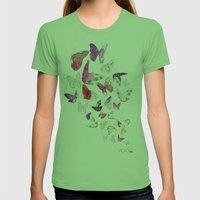 Butterflies Womens Fitted Tee Grass SMALL