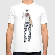 peace sign skeleton Mens Fitted Tee White SMALL