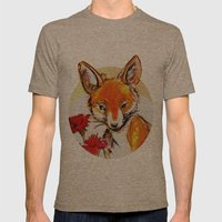 Fox in Sunset Mens Fitted Tee Tri-Coffee SMALL