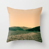 Sunsetting landscape photography of sky, lake and mountain. Throw Pillow
