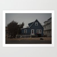 Blue Home, Orange Sticke… Art Print