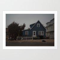 Blue Home, Orange Sticke… Art Print