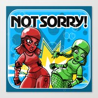 Not Sorry Roller Derby A… Canvas Print