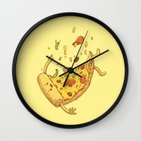 Pizza Fall Wall Clock