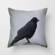 Wet Crow Throw Pillow