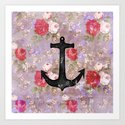 Vintage Nautical Anchor Purple Pink Floral Pattern  Art Print