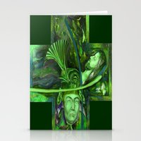 Religion green Stationery Cards