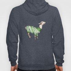 Llama in a Green Deer Sweater Hoody