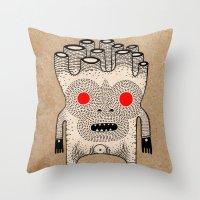 cardboard man Throw Pillow
