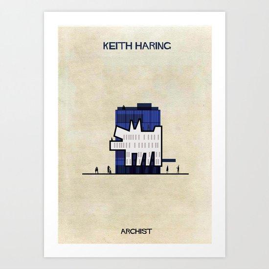 Keith haring art print by federico babina society6 - Keith haring shower curtain ...