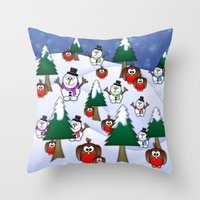 Rocking Robin In A Winte… Throw Pillow
