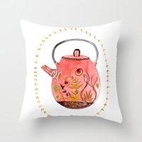 Teapot Terrarium Throw Pillow