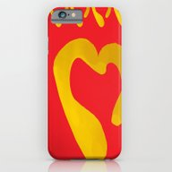 Gold Hearts On Red iPhone 6 Slim Case