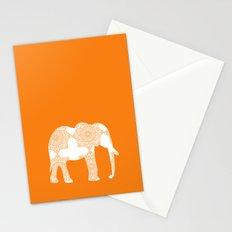 Floral Elephant Art on Orange Stationery Cards