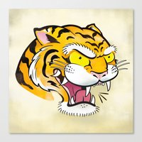 Tiger Tattoo Flash Canvas Print