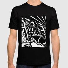 Monkey Pilot Black & White Mens Fitted Tee Black SMALL