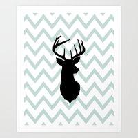 Chevron Deer Silhouette Art Print