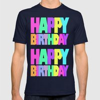 Happy Birthday Mens Fitted Tee Navy SMALL
