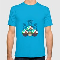 Cute Monster With Cyan And Blue Polkadot Cupcakes Mens Fitted Tee Teal SMALL
