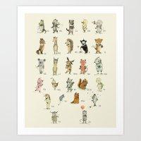 Animal Alphabet, English Art Print