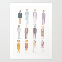 wes anderson Art Prints featuring Wes Anderson movie characters by SatsumaOrange