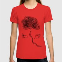 Flower Womens Fitted Tee Red SMALL