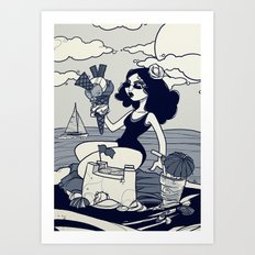 Beach Girl. Art Print