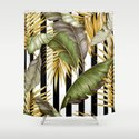 HAWAIIAN GARDEN TROPICAL LEAVES | stripes Shower Curtain